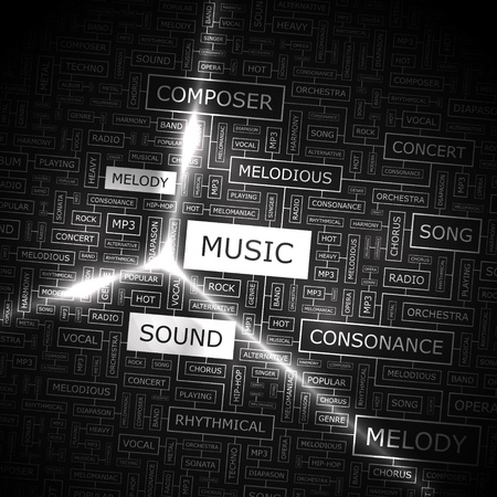 MUSIC  Word cloud illustration  Tag cloud concept collage  Vector illustration  Vector