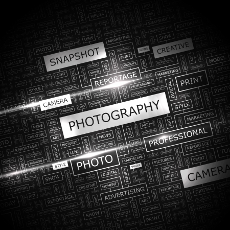word collage: PHOTOGRAPHY  Word cloud illustration  Tag cloud concept collage  Vector illustration