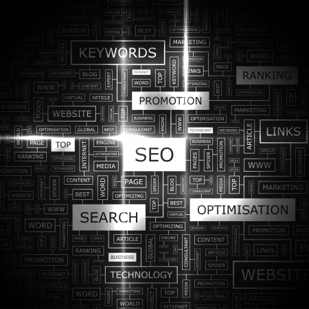 SEO  Word cloud concept illustration    Vector