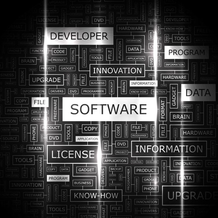 SOFTWARE  Word cloud illustration  Tag cloud concept collage Vector