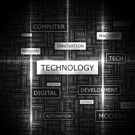 TECHNOLOGY  Word cloud concept illustration  Vector