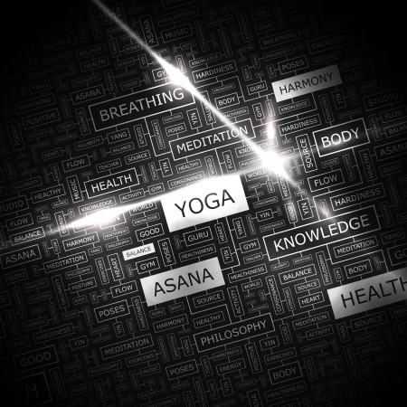 YOGA  Word cloud concept illustration  Vector