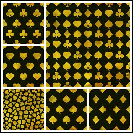 repeat pattern: Poker background with card suits: clubs, hearts, diamonds, spades. Illustration
