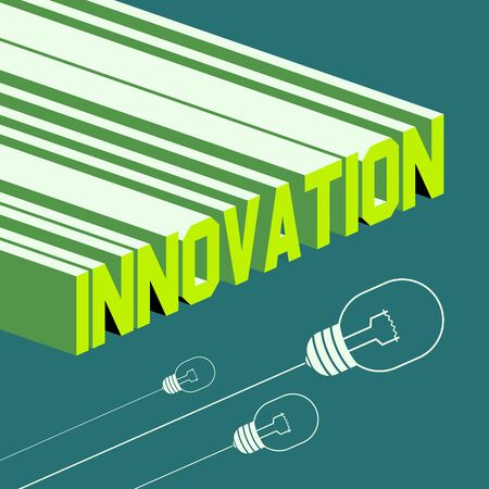 innovation word: Innovation word. Abstract background with 3D-effect. Vector file. Illustration