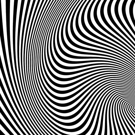 dynamical: Black and white background. Pattern with optical illusion. Illustration