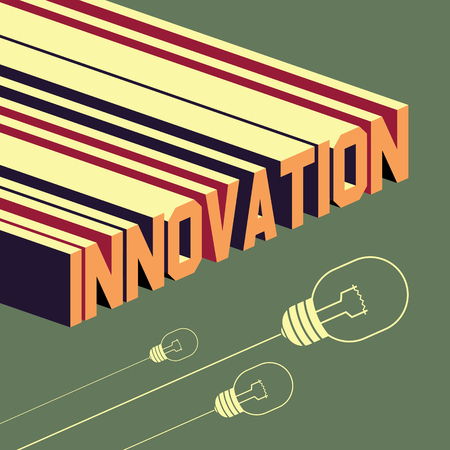 leadership development: Innovation word. Abstract background with 3D-effect.