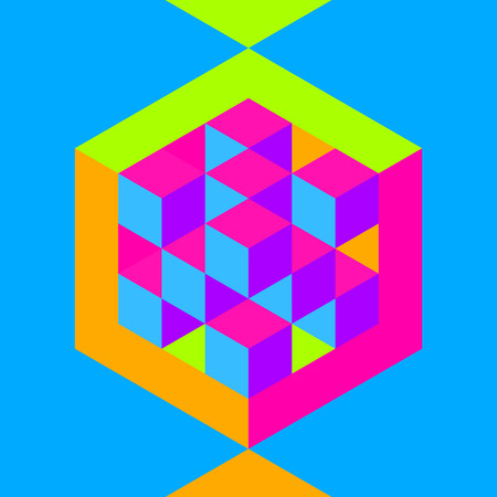inscribed: Hexagon shape with cubes inscribed. Vector illustration of 3d background.  Can be used for business concepts. Modern template, education template, business brochure. Illustration