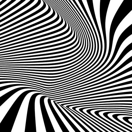 arte optico: Modelo con la ilusión óptica. Fondo blanco y negro. Ilustración del vector.