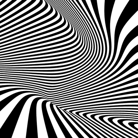 illusions: Pattern with optical illusion. Black and white background. Vector illustration.