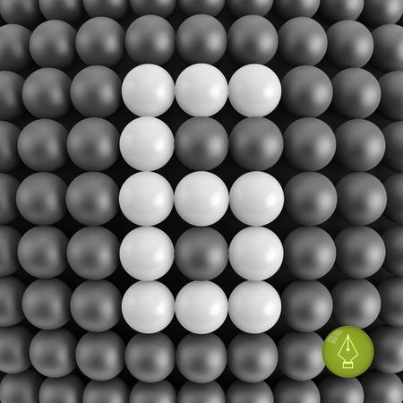 sixth form: Number six. Mathematics background - 3d vector illustration.