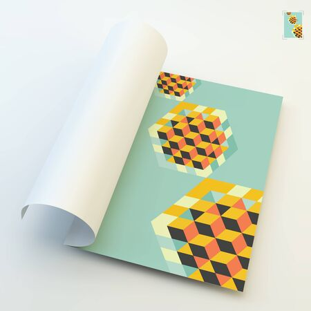 open notebook: A4 business blank. Template for design layout. Hexagon shape with cubes inscribed. 3d vector illustration. Can be used for business concepts.