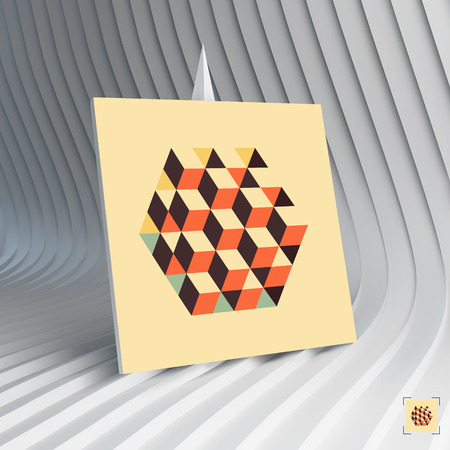 inscribed: Business card. 3d vector illustration. Hexagon shape with cubes inscribed. Can be used for advertising, marketing, presentation. Illustration