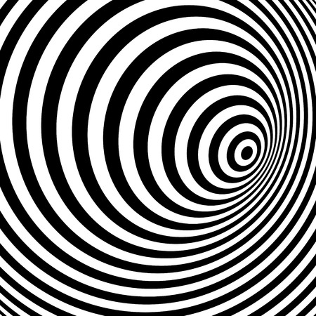 hypnosis: Black and white abstract striped background. Optical Art. Vector illustration.