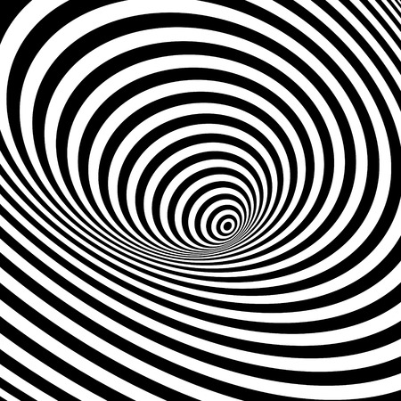 Black and white abstract striped background. Optical Art. 3d vector illustration. Can be used for wallpaper, web page background, web banners.
