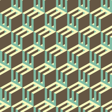 tridimensional: 3d blocks structure background. Seamless geometric pattern. Vector illustration. Illustration