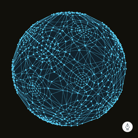 internet network: 3d sphere. Global digital connections.  Technology vector illustration. Can be used for banner, flyer, book cover and poster. Illustration