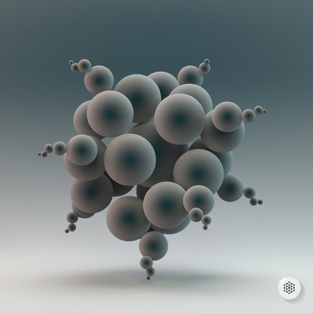 biochemistry: Abstract spheres. 3d vector illustration. Can be used for presentations, web design.