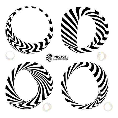 Vector illustration set of black and white 3d bracelets or rings. 3D icons. Vector