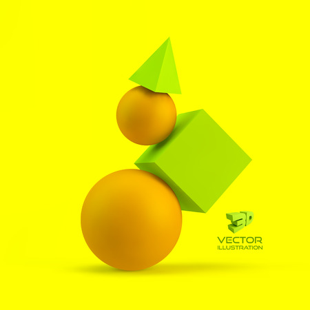 3d geometrical composition. Abstract vector illustration.  Can be used for presentations, web design.