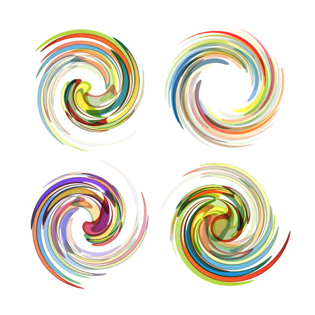 Colorful abstract icon set. Dynamic flow illustration. Swirl collection.