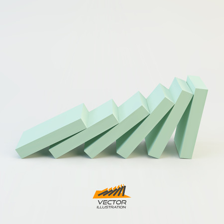domino effect: Domino effect concept. Business 3D concept illustration. Vector illustration. Can be used for business presentations, web design. Illustration