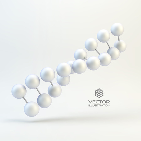 Vector illustration of dna structure in 3d. With place for text. Can be used for business presentations, web design.