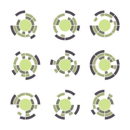 Collection of different graphic elements for design. Technology symbol set.