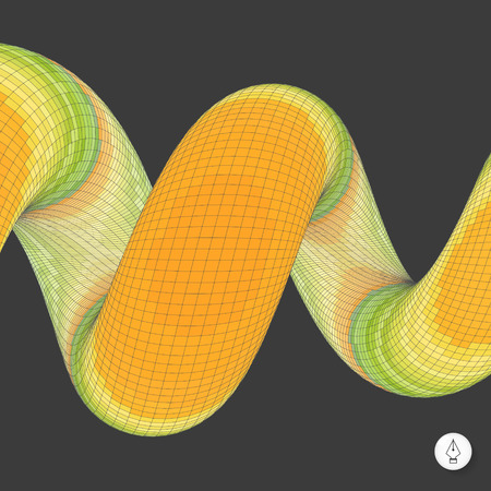 coil spring: Spiral. Mosaic. 3d vector illustration. Can be used as design element.