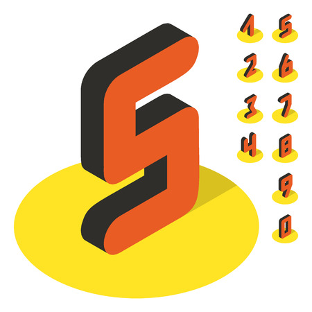 web 2 0: 3D number icons. Vector set. Can be used for advertising and web design.