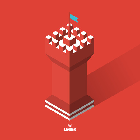 leadership abstract: Tower. 3d vector illustration. Can be used for marketing, website, print and presentation. Illustration