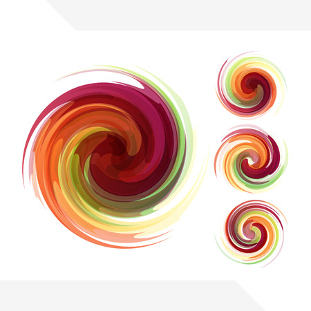 swirls: Colorful abstract icon set. Dynamic flow illustration. Swirl collection.