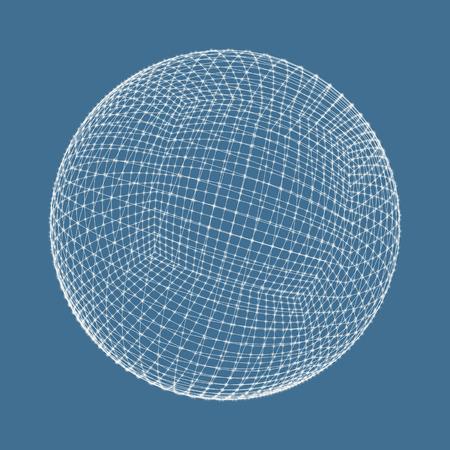3d sphere. Global digital connections. Technology concept vector illustration.