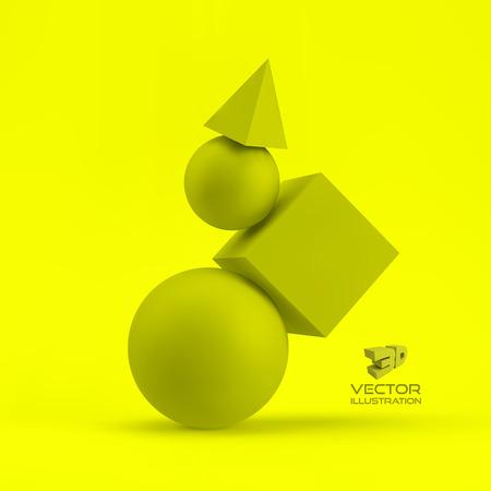 pyramidal: 3d geometrical composition. Illustration