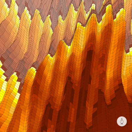 erupt: Abstract landscape background. Mosaic vector illustration. Can be used for banner, flyer, book cover and poster.