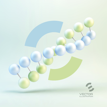 medical illustration: Vector illustration of dna structure in 3d. With place for text. Can be used for presentation. Illustration