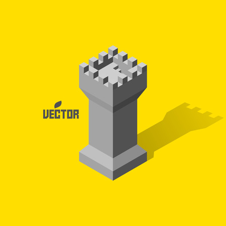 citadel: Leader concept. Tower. 3d vector illustration. Can be used for design.