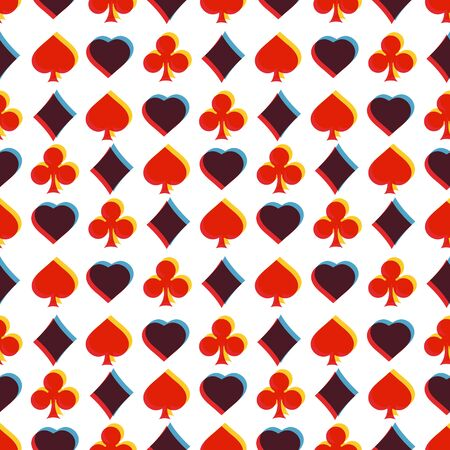 clubs diamonds: Seamless pattern with card suits. Endless background of hearts, diamonds, clubs, spades for design. Can be used for textiles, interior design, website background.