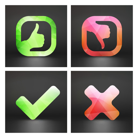 disapprove: Approved and rejected icons. Vector set. Can be used as design element. Illustration