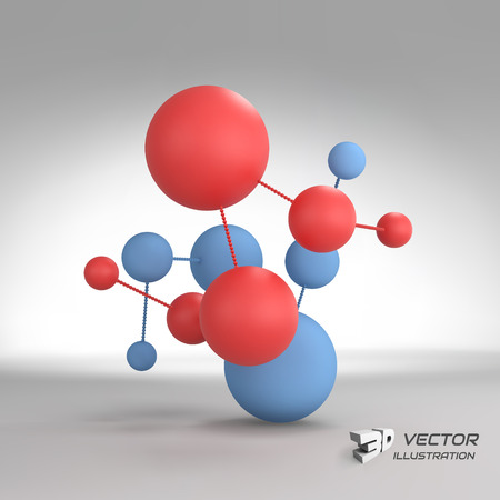 atomic structure: Molecular structure with spheres. 3d vector Illustration. Can be used for marketing, website, presentation.