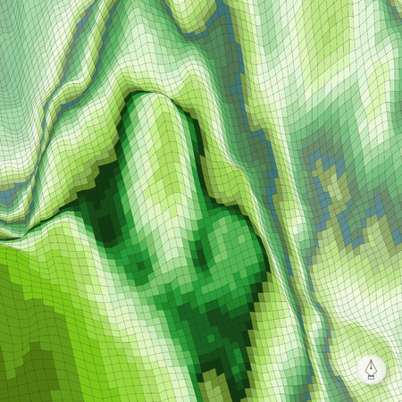 topographical: Abstract landscape background. Mosaic. 3d technology vector illustration. Can be used for banner, flyer and poster.