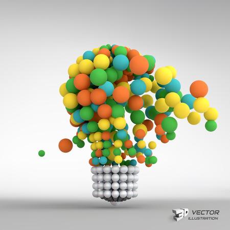 전구. 아이디어 개념. 3D 벡터 일러스트 레이 션입니다. 비즈니스 프레젠테이션에 사용할 수 있습니다.