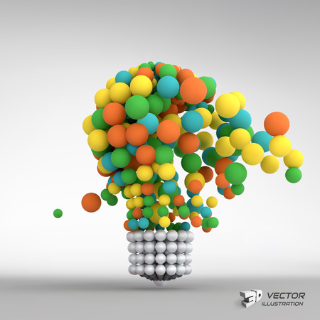 Lightbulb. Idea concept. 3d vector illustration. Can be used for business presentation. Vettoriali