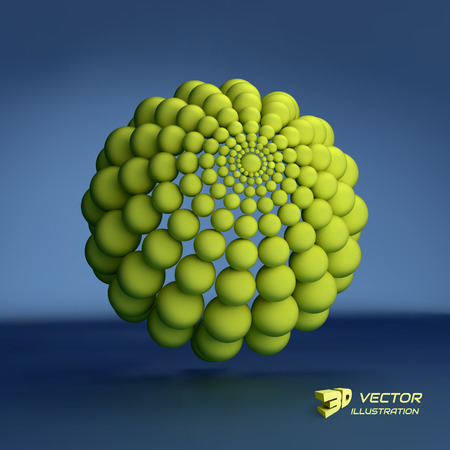 3d atom: Sphere. 3d vector template. Abstract illustration. Can be used for presentations and design.