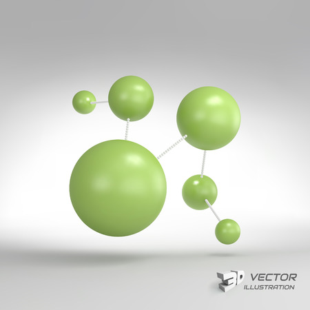 vector  molecular: Molecular structure with spheres. 3d vector Illustration. Can be used for marketing, website, presentation.