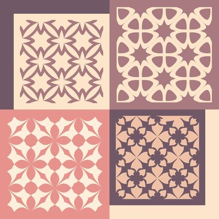 patterns vector: Set of four seamless patterns. Vintage geometric ornaments. Can be used for wallpaper, pattern fills, web page background. Vector Illustration. Illustration