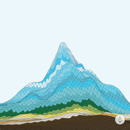 terrain: Abstract background with mountain. Mosaic. 3d vector illustration. Can be used for banner, flyer, book cover and poster.