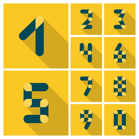 web 2 0: Numbers. Icons set. Vector flat design. Can be used for advertising and web design.