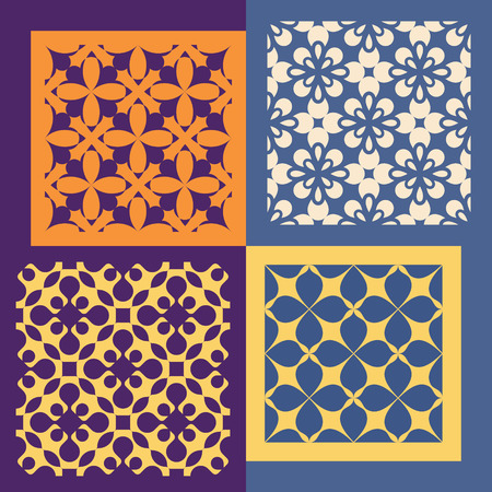 ornaments vector: Set of four seamless patterns. Vintage geometric ornaments. Can be used for wallpaper, pattern fills, web page background. Vector Illustration. Illustration