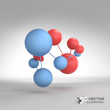 bond: Molecular structure with spheres. Illustration