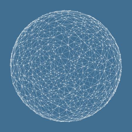 esfera: Conexiones digitales globales. 3d ilustración vectorial tecnología.